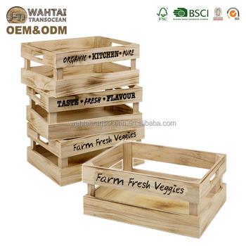 Lot De 3 Vintage En Bois Boite De Rangement Caisse Poignees Fruits Legumes Cuisine Maison Buy Caisse En Bois A La Maison Caisse En Bois Product