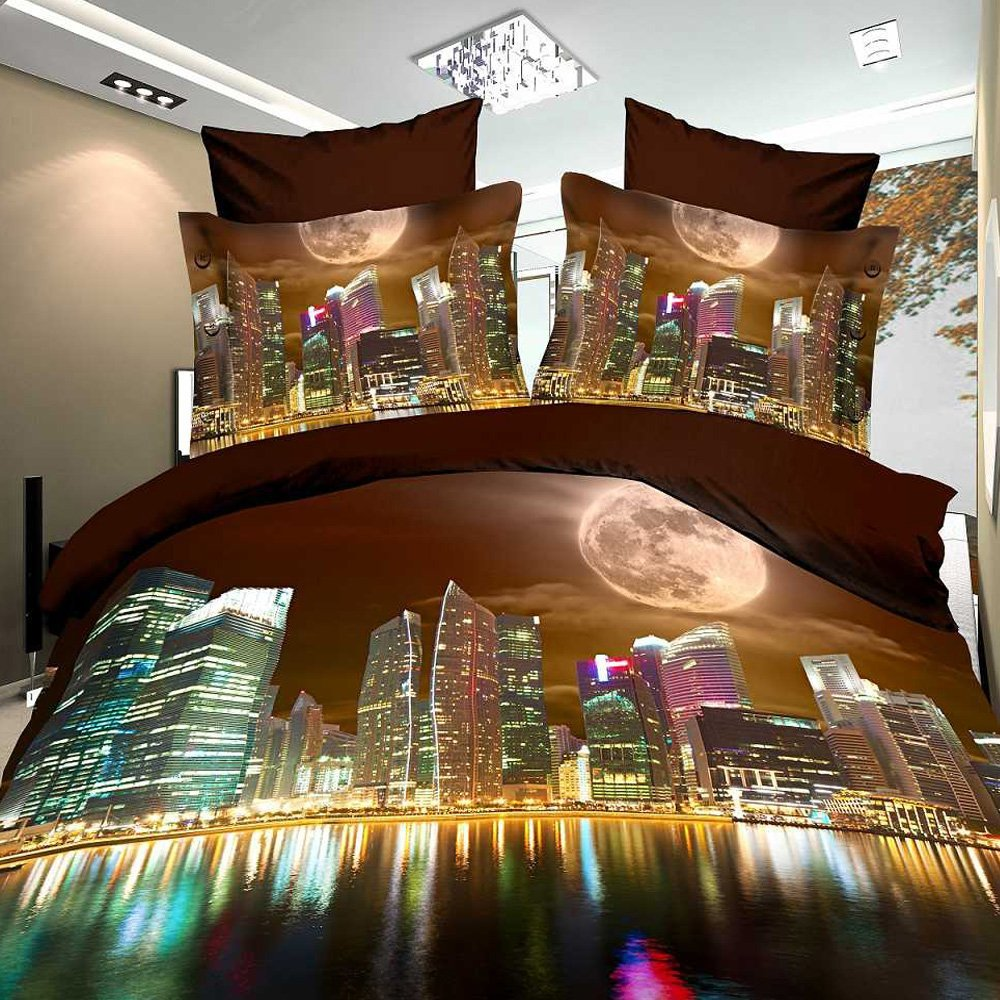 Alicemall Queen Size 3D Building Bedding Set Modern City 4 Piece Polyester 3D Bedding Sets, Full/ Queen/ King Size, 4 PCS Duvet Cover Set (Queen)