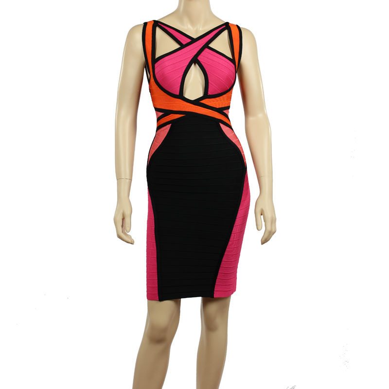 High Quality New Arrival Pink And Black Backless Bandage Dress Evening Party Bodycon Dress