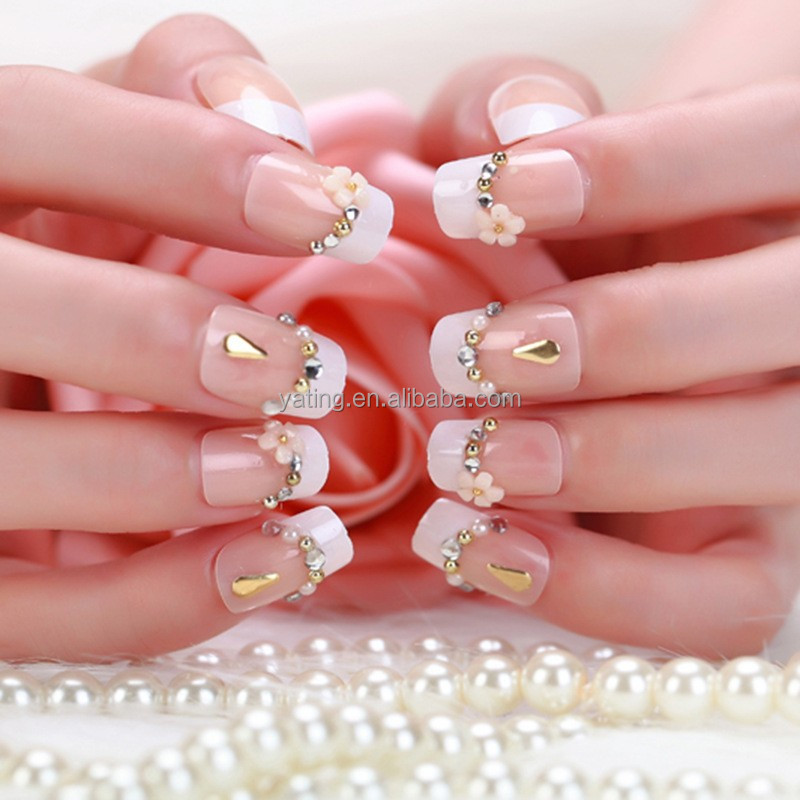 2015 New Design Metallic Decoration French Finger Artificial Nail wholesale