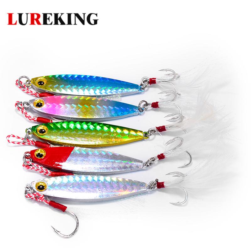 Lureking 7g 10g 15g 20g 30g Trout Jig Trolling Spoon Lure Double Hook, High Quality Jigging Lead Head Bass Metal Fishing Lures фото