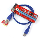 New One Red pcie PCI-E x1 to Powered pci x16 Riser Adapter Card USB 3.0 Extension Cable