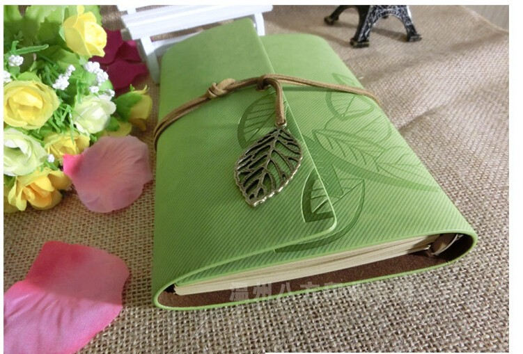 Best price 2015 many colors vintage escolar school book sketchbook diary agenda planner leaf pu leather notebook