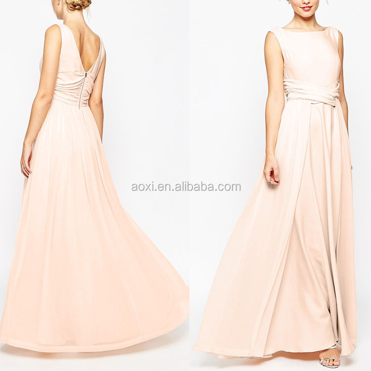 Alibaba Wholesale Embellished Front Pleated Back Luxury Sleeveless Maxi Wedding Dress 2016
