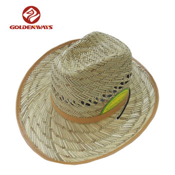 0613e19df23cd High Quality Wholesale Funny Logo Straw Cowboy Hat With Chin Strap ...