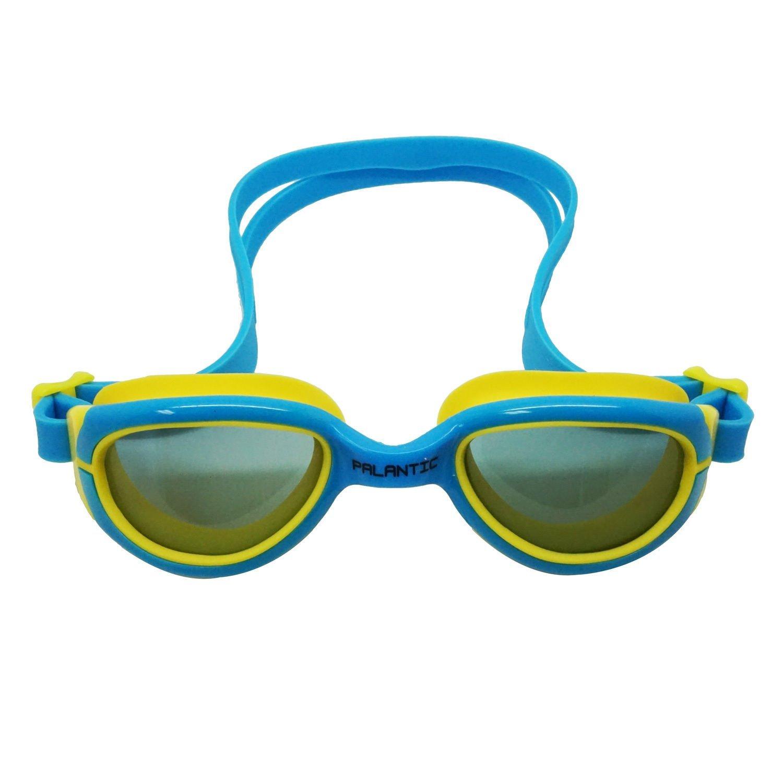 Palantic Jr. Silicone Swim Goggles w/ UV Tinted Lenses, Blue/Yellow