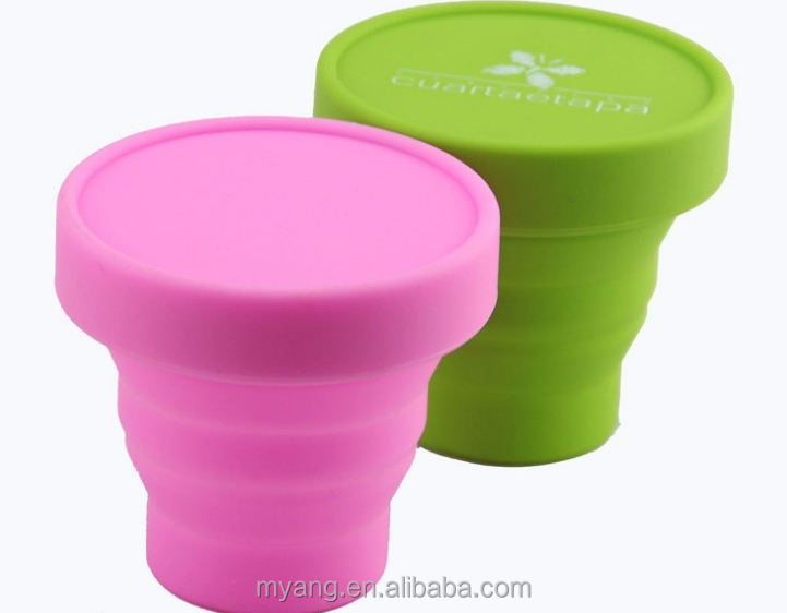 Factory price food grade high quality silicone foldable cup/ silicone collapsible cup with lid 200ml 7oz bpa free