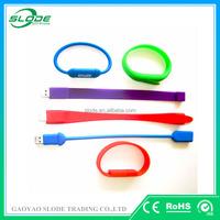 Custom logo usb silicone wristband, bracelet usb flash memory
