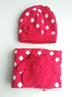 Custom Lovely soft Red Knitted Hat Scarf Gloves Set for Kids