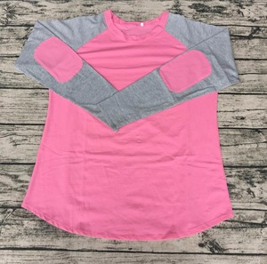 Customize Plain girls clothes direct factory wholesale pink solid and gray raglan long sleeve shirts for mom and me family wear