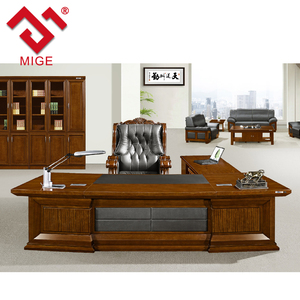 High quality solid wood boss furniture leather office desk set