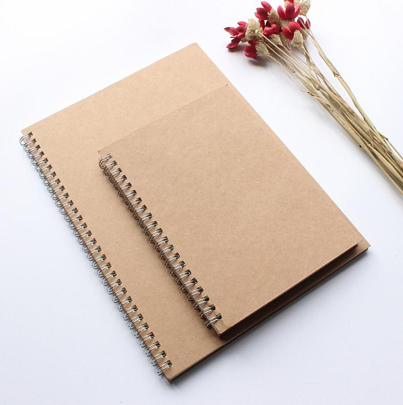 custom size metal coil kraft paper cover softcover spiral notebook