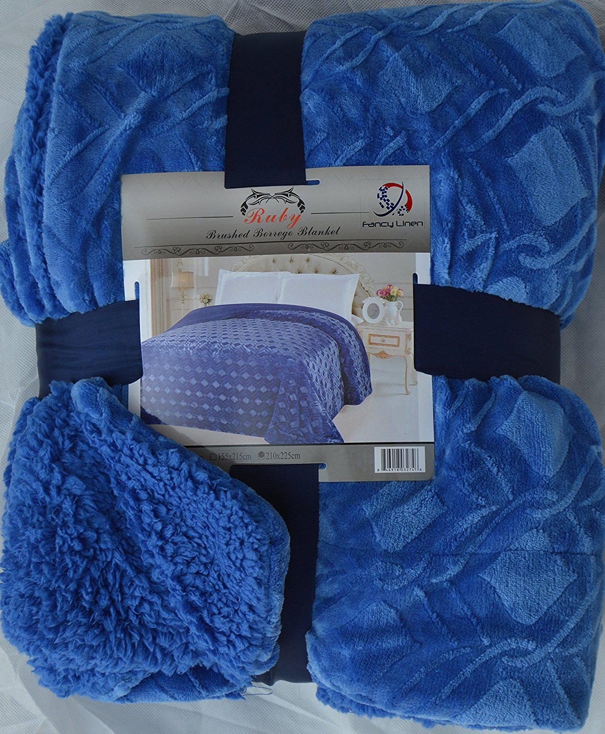 Fancy Collection Queen/king Size Embossed Blanket Sumptuously Soft Plush Sollid Blue with Sherpa Revirsable Winter Blankets Bedspread Super Soft New (Queen/King, Blue)