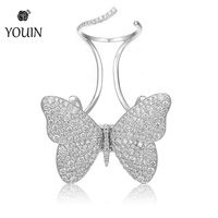 Luxury Original Move Butterfly 18k Pure White Gold Ring Jewelry