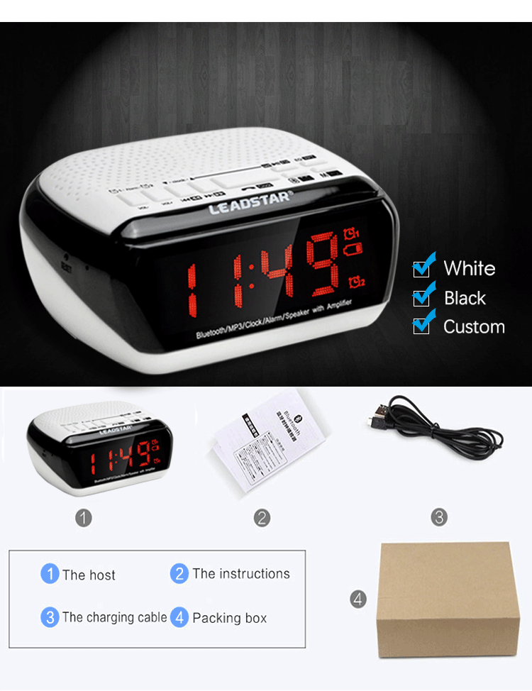 Portable am fm portable radio with clock wireless speaker mp3