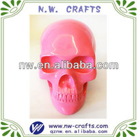 Unique resin pink skull head decorations for artist