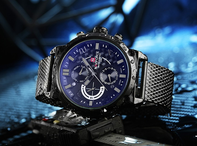 new male business mesh stainless steel wristwatch military japanese movement quartz watch luxury men brand naviforce 9068 watch