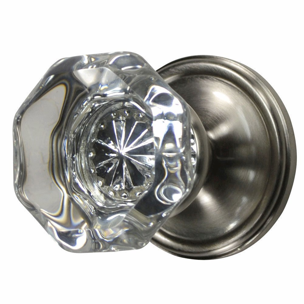 Providence Octagon Crystal Door Knob Set with Victorian Plate Rosettes in Brushed Nickel (Passage Hall / Closet)