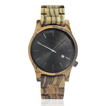 Luxury design pure wooden watches men's dress with calendar natural wood watch for men's best gift