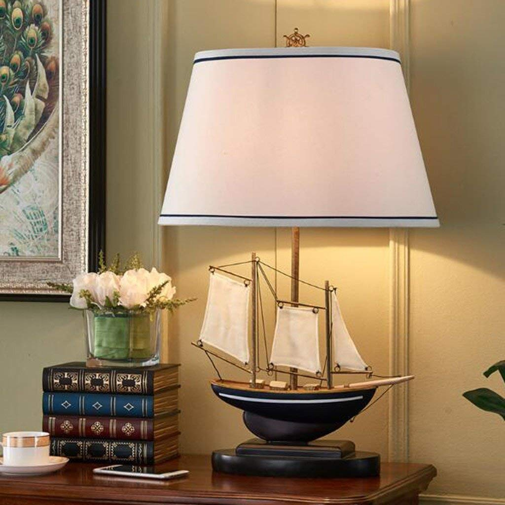 Pirate Ship Table Lamp, E27 Light Source Cloth Lampshade Resin Pirate Ship Base Creative Desk Lamp Art Bedside Lamp for Living Room Children Room (Color : Button)