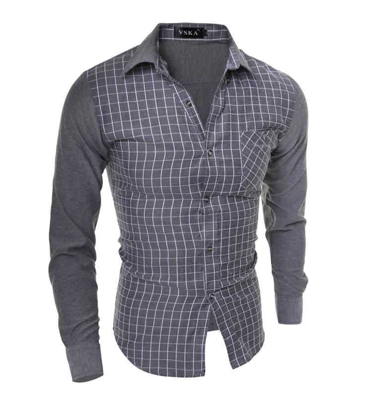 19834495d9 Get Quotations · 2015 New Men s Long Sleeved Flannel Casual Plaid Shirt Men  Checkered Dress Shirts Slim Stylish Fashion