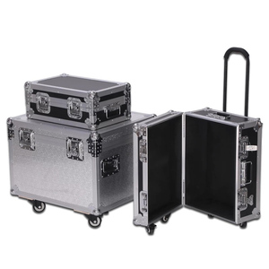 Hot sale aluminum makeup trolley case with drawers,aluminum train case