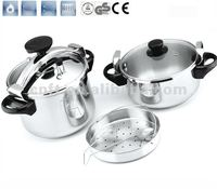 100% safety guarantee 304 stainless steel non stick cookware set with the certificate GS & CE CSB 22CM 4L+8L