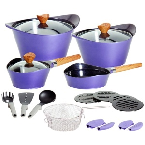 19pcs die casting aluminum non stick ceramic coating induction bottom cookware set
