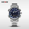 WEIDE Black Dial watch Analog Digital LED Stainless Full Steel Date Day Alarm Men's Sports Outdoor Quartz Wrist Military Watches