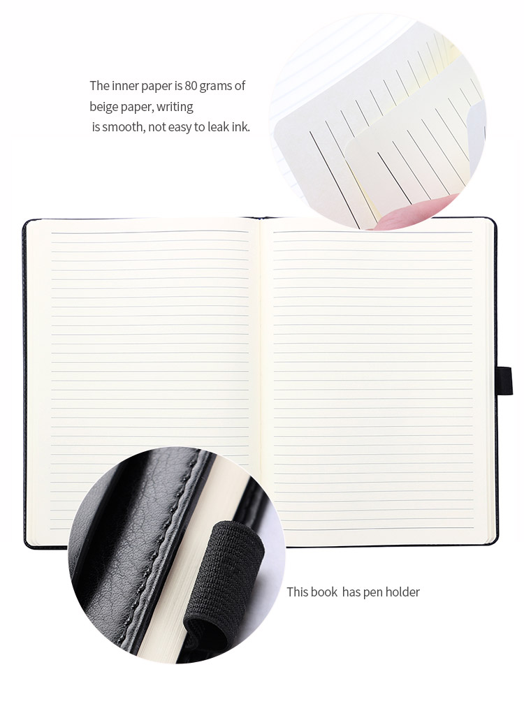 Business custom printing logo composition organizer diary pu leather journal plain black notebook with elastic band