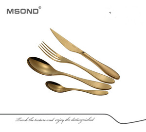 Great color stylish hotel & restaurant copper cutlery Thyssen stainless steel gold plated dinnerware set