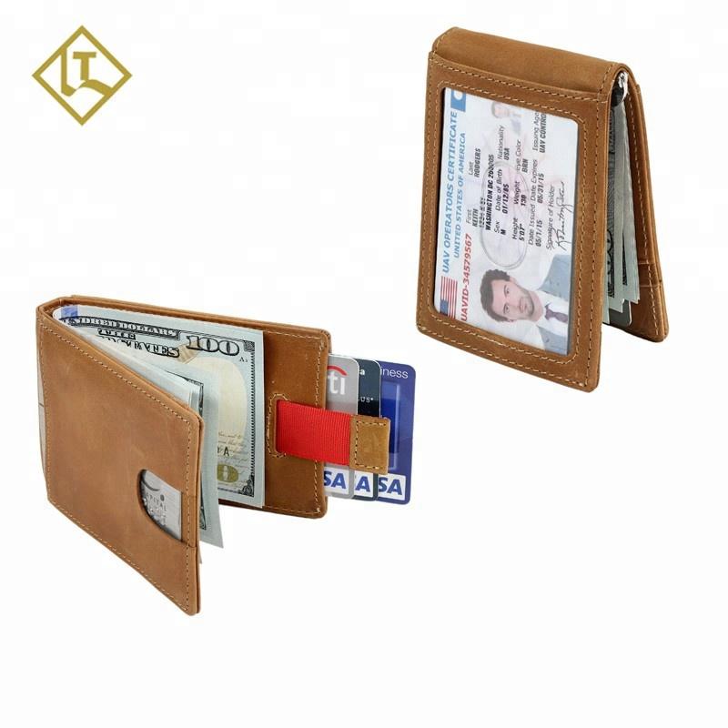 e5d0fba6249f Rfid Blocking Slim Minimalist Credit Card Holder Money Clip Wallet Handmade  Crazy Horse Genuine Leather Vintage Wallet For Men - Buy Clip ...