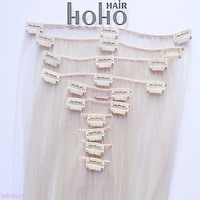 14 inch white hair extension snap clips