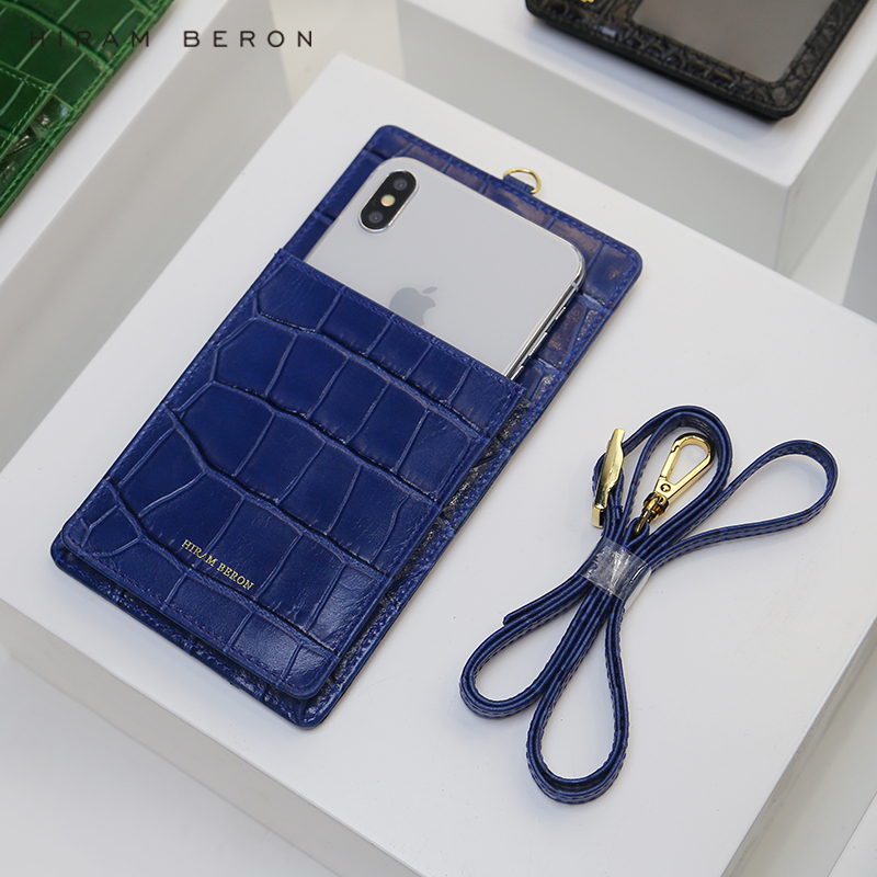 Hiram Beron for iphone 7 plus wallet case with card holder blue embossed crocodile pattern cow leather
