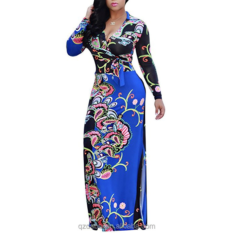 New design cheap big size sexy women deep <strong>v</strong> neck patterns printed long sleeve african kitenge maxi plus size dress