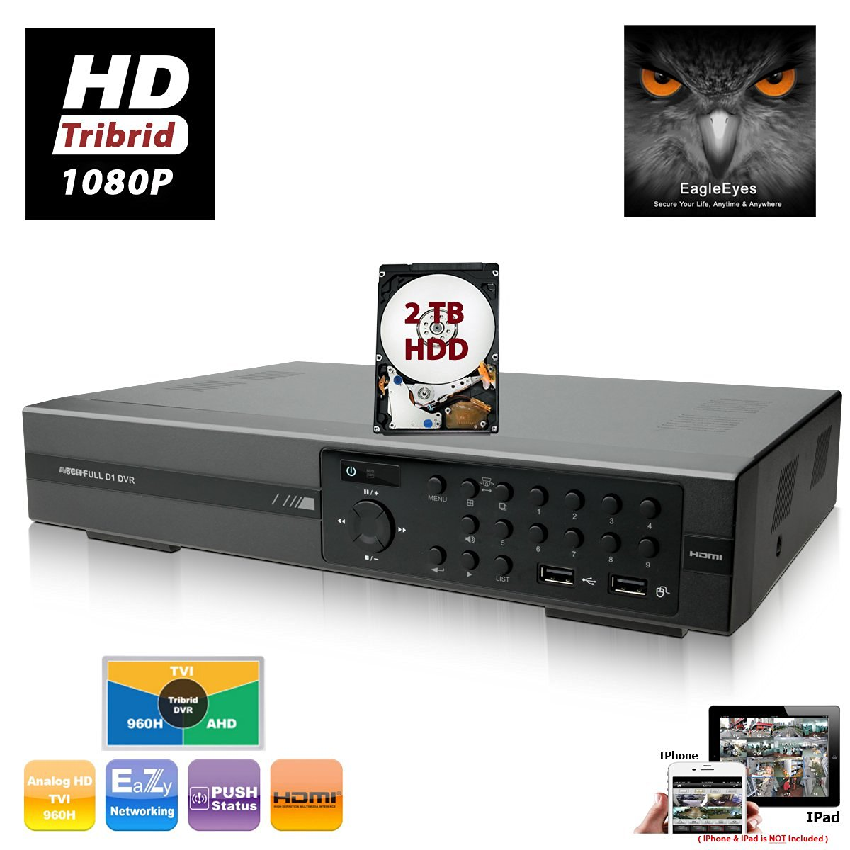 EVERTECH AVTECH 8 Channel Tribrid H.264 HD CCTV 1080P TVI + AHD + Analog Security Digital Video Recorder with Cloud Support Digital DVR for Easy Mobile Phone Access & Monitoring w/2TB