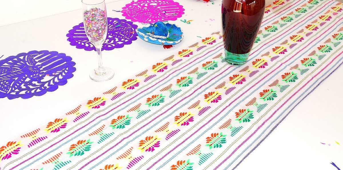 Get Quotations · White Mexican Table Runner, Aztec Table Cloth, Mexican  Wedding, Day Of The Dead