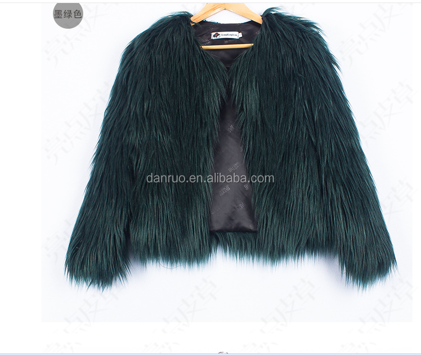 Women Fur Coat Faux Fur Vest Lady Mixed Color Winter Long Fur Coat