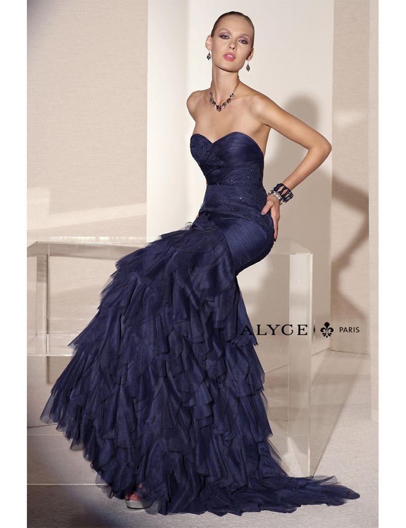hot sale Amazing Elegant Mermaid Navy Blue Prom Dress