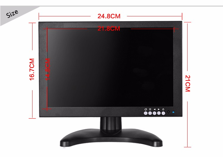 Wall mount EPD panel 10 inch lcd screen monitor for CCTV system security film make