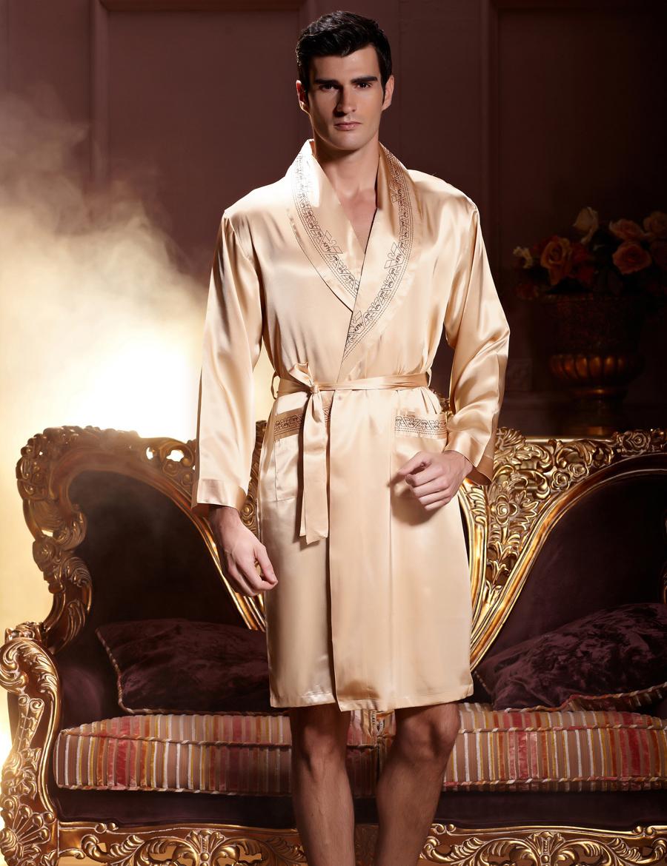 Gold Emulation Silk Men Bathrobe Long Sleeve V Neck Male Robes Soft Silk  Satin Sleepwear Casual Comfortable Homewear 7222 4e51b1eb0