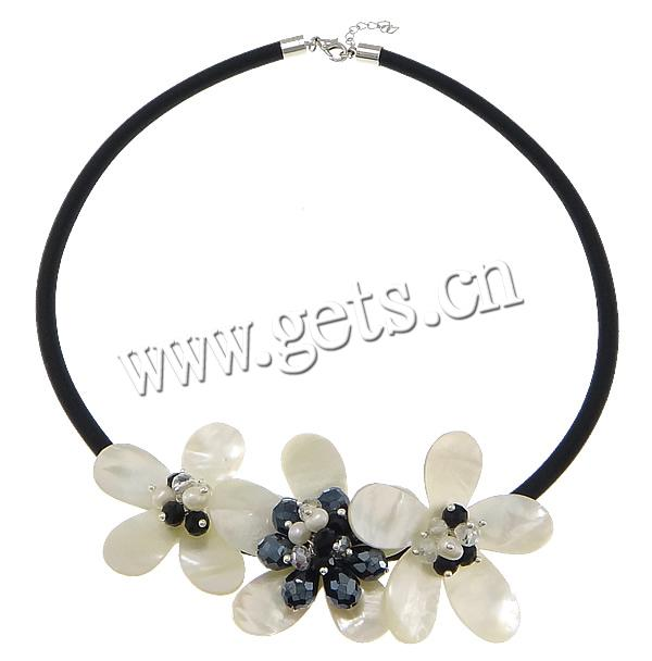 White Shell 50x48x17mm, 50x50x1m fabr flower necklace