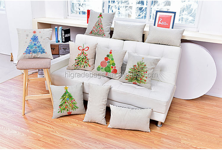 Hot sell High quality cotton linen printing christmas design pillow sofa cushion cover