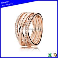 Wholesale stainless steel rose gold stainless steel diamond engagement wedding finger ring