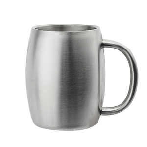 14 OZ Handle Coffee Mug Silver Stainless Steel Cups Eco Friendly Material China Factory Tumbler