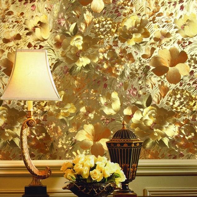 Floral Gold Foil Wallpaper Embossed Mural Ceiling Ktv