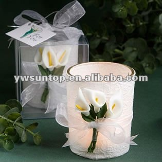 Stunning calla lily design glass candle holder favors for wedding gift