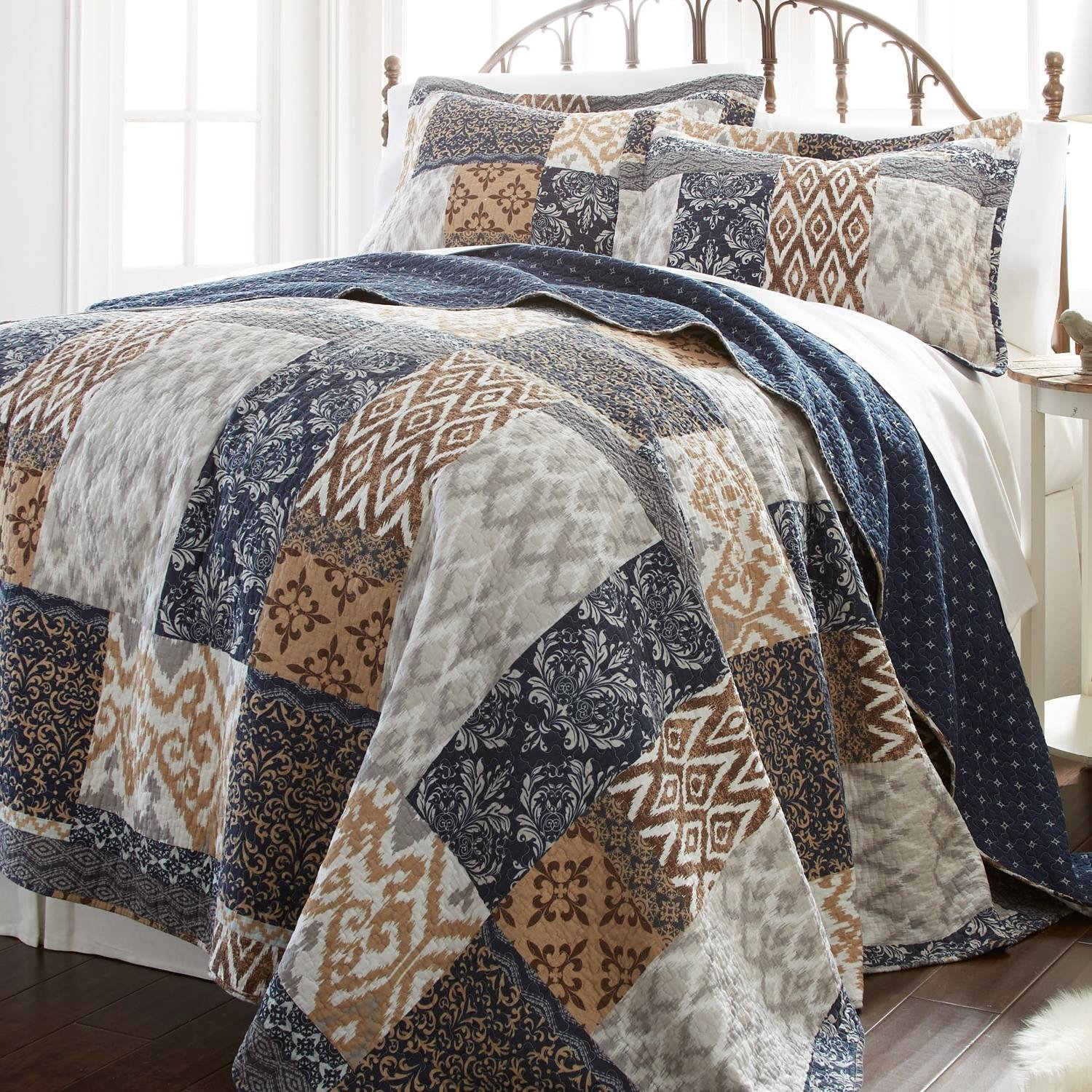 OTS 3 Piece Multi Color Patchwork King Size Quilt, Blue White Medallion Damask Square Rectangle, Floral Zig Zag Pattern Tan Brown Boho Chic Southern Patch Work, Cotton, Polyester
