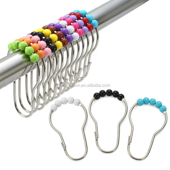 Colorful Acrylic Plastic Roller Shower Curtain Hooks And Rings