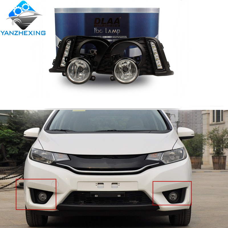 YZX complete Fog Lamp Set Bumper LampFor FIT JAZZ 2014 2015 2016 HD-625L 55 Watts 12v Warm Yellow Lamp Type Halogen